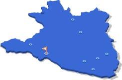 carte de la vue 3d isométrique du Burundi avec la surface et les villes bleues Photo stock