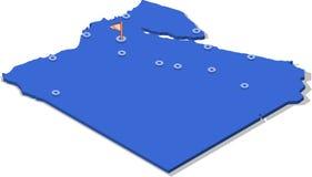 carte de la vue 3d isométrique de l'Egypte avec la surface et les villes bleues Photo stock