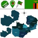 Carte de la Zambie avec Provinces appelée Photo stock