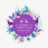 Carte de label de renne de bonne année de Joyeux Noël