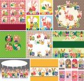Carte de lapin et d'oeufs de Pâques Photos stock
