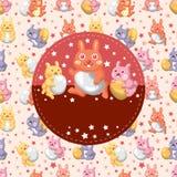 Carte de lapin et d'oeufs de Pâques Photos libres de droits