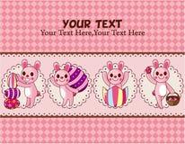 Carte de lapin et d'oeufs de Pâques Photo stock