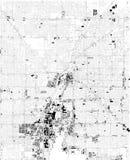 Carte de Las Vegas, vue satellite, carte noire et blanche Le Nevada, Etats-Unis illustration libre de droits
