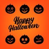 Carte de lettrage écrite par main heureuse de Halloween avec l'ensemble de potiron de lanterne de 6 crics o Image libre de droits