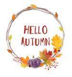 Carte de lettrage d'automne d'aquarelle bonjour Illustration tirée par la main Photos stock