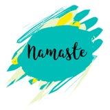 Carte de lettrage de Namaste Bonjour dans le hindi Illustration d'encre Photo stock