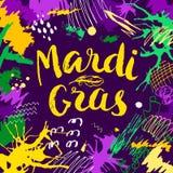 Carte de lettrage de Mardi Gras Image stock