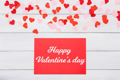 Carte de lettre de Saint Valentin sur le fond blanc Photo stock