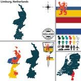 Carte de Limbourg, Pays-Bas Photos stock