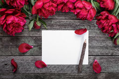 Carte de livre blanc avec le crayon sur le fond en bois rustique avec les pivoines et les pétales roses Fleurs workspace Photos libres de droits