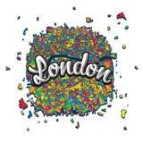 Carte de Londres avec le titre écrit Photo stock