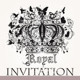 Carte de luxe d'invitation avec le luxe g de papillons et d'oiseaux de couronne Images libres de droits
