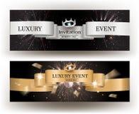 Carte de luxe d'invitation d'événement avec des rubans d'or et d'argent Photos libres de droits