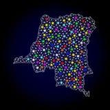 Carte de maille 2D de la République démocratique du Congo avec les taches lumineuses lumineuses illustration libre de droits