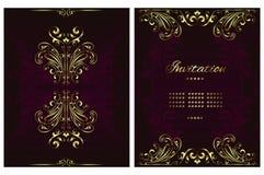 Carte de mandala de fond de cru avec les ornements d'or de dentelle et les ?l?ments d?coratifs floraux d'art d?co illustration libre de droits