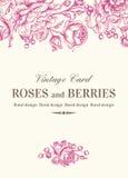 Carte de mariage avec des roses Photos libres de droits