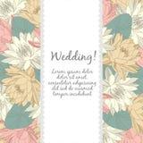 Carte de mariage avec les éléments floraux Photos libres de droits