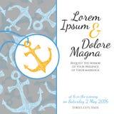 Carte de mariage d'invitation dans le vecteur marin de style Photos stock