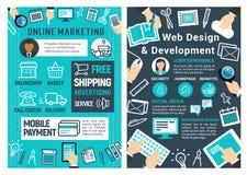 Carte de marketing en ligne, de web design et de développement illustration de vecteur