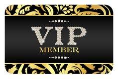 Carte de membre de VIP avec le modèle floral d'or Photographie stock