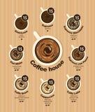 Carte de menu de café pour différents types de café Illustration Libre de Droits