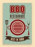 Carte de menu de vintage pour le restaurant de BBQ illustration stock