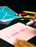 Carte de message pour votre famille et amis ; Je t'aime Photo libre de droits
