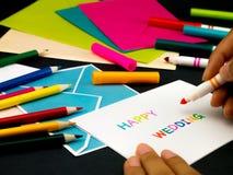 Carte de message pour votre famille et amis ; Mariage heureux Image libre de droits