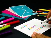 Carte de message pour votre famille et amis ; Thanksgiving heureux Image libre de droits
