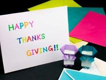 Carte de message pour votre famille et amis ; Thanksgiving heureux Photographie stock