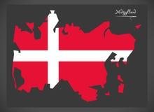 Carte de Midtjylland du Danemark avec l'illustratio danois de drapeau national illustration de vecteur