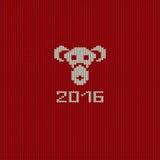 Carte de modèle tricotée de nouvelle année avec le visage de singe Images stock