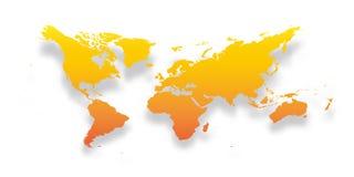 Carte de monde Silhouette jaune-orange simple de gradient avec l'ombre laissée tomber d'isolement sur le fond blanc Vecteur illustration stock
