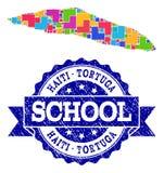 Carte de mosaïque de collage de joint d'île du Haïti Tortuga et d'école de détresse illustration stock