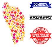 Carte de mosaïque d'étoile de Dominica Island et des filigranes en caoutchouc illustration de vecteur