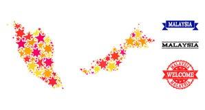 Carte de mosaïque d'étoile de la Malaisie et des filigranes en caoutchouc illustration de vecteur