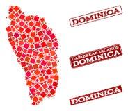 Carte de mosaïque de Dominica Island et de composition rayée de joint d'école illustration de vecteur