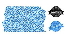 Carte de mosaïque du Brésil - le Distrito fédéraux avec les larmes de l'eau et le joint grunge de timbre illustration de vecteur
