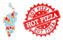 Carte de mosaïque de Krasnoyarskiy Kray de flamme et de joint texturisé de neige et de pizza chaude illustration stock