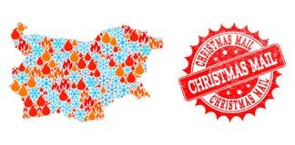 Carte de mosaïque de la Bulgarie du feu et des flocons de neige et du timbre grunge de courrier de Noël illustration stock