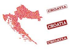 Carte de mosaïque de la Croatie et de collage grunge de timbre d'école illustration stock