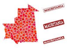 Carte de mosa?que de la Mauritanie et du collage grunge de joint d'?cole illustration libre de droits