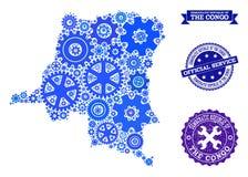 Carte de mosaïque de la République démocratique du Congo avec des roues de vitesse et des joints en caoutchouc pour des services illustration libre de droits