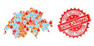 Carte de mosaïque de la Suisse du feu et neige et timbre rayé par pollution toxique illustration stock