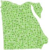 Carte de mosaïque verte de l'Egypte Image libre de droits