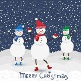 Carte de musique de Noël avec le bonhomme de neige de danse Images stock