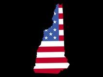 Carte de New Hampshire avec l'indicateur Photo stock