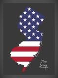 Carte de New Jersey avec l'illustration américaine de drapeau national illustration stock