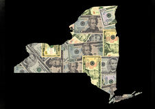 Carte de New York avec des dollars Images libres de droits